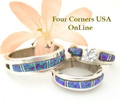 purple fire opal inlay engagement bridal ring sets wedding bands wilbert muskett jr native american navajo - Native American Wedding Rings